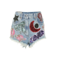 Sequined denim shorts