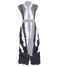 Printed silk and wool-blend crepe dress