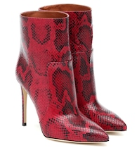 Python-print leather ankle boots