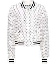 Polka-dotted silk bomber jacket