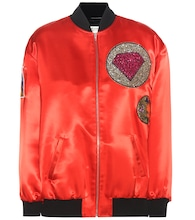 Satin bomber jacket with appliqué