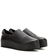 Platform leather slip-on sneakers