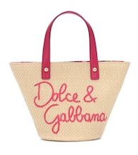 Embroidered raffia tote