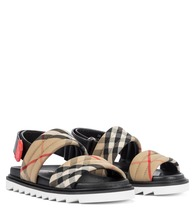 Vintage Check cotton and leather sandals