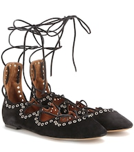 Leo embellished suede lace-up ballerinas