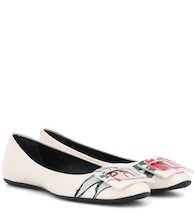 T-shirt RV printed patent leather ballerinas