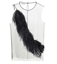 Feather-trimmed chiffon top