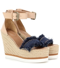 Leather and denim wedge espadrille sandals