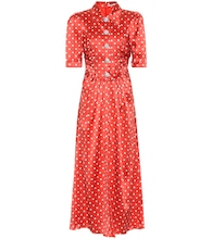 Embellished polka-dot silk dress