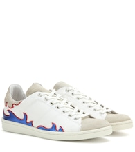 Gilly leather-trimmed canvas sneakers