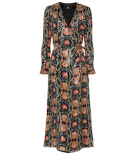 Printed silk-blend crêpe midi dress