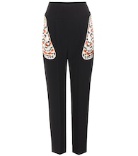 Embellished crepe trousers