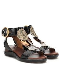 Wanda embossed leather sandals