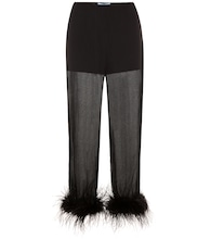 Feather-trimmed silk-chiffon trousers