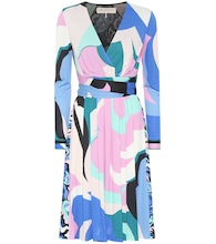 Printed silk-blend dress