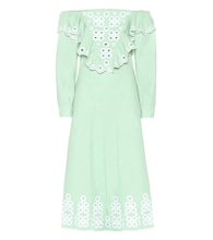 Embroidered cotton midi dress