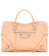 Classic Metallic Edge City leather tote
