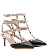 Valentino Garavani Rockstud leather kitten-heel pumps