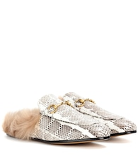 Princeton snakeskin with fur-trim loafers