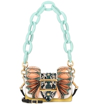 The Ruffle Buckle leather and snakeskin bag