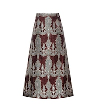 Printed silk-blend skirt