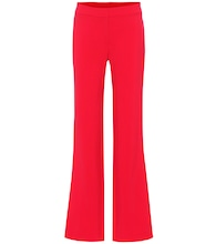 High-rise wide-leg wool-blend pants