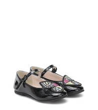 Butterfly patent leather ballet flats