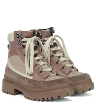 Leather-trimmed hiking boots