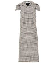 Checked wool-blend midi dress