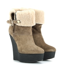 Shearling-lined suede wedge boots