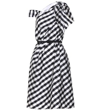 Gingham taffeta draped midi dress