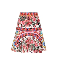 Printed stretch-silk skirt