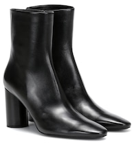 Oval leather ankle boots