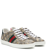 Ace leather-trimmed printed sneakers