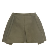 Pleated cotton twill skirt