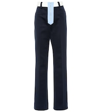 High-rise straight jersey pants