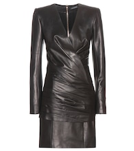 Ruched leather mini dress