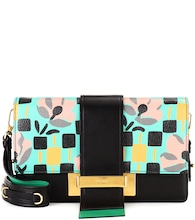 Ribbon printed leather shoulder bag