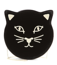 Pussycat embroidered velvet shoulder bag