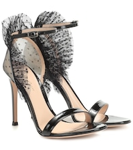 Tulle and patent-leather sandals