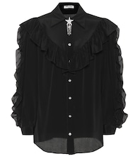 Embellished silk shirt