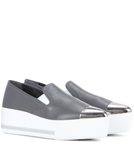 Leather slip-on platform sneakers