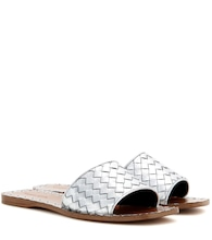 Metallic leather slip-on sandals