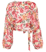 Top 135 floral-printed silk cropped blouse
