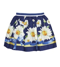 Floral-printed cotton skirt