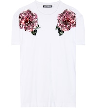 Sequinned cotton t-shirt