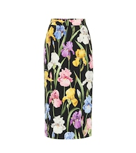 Floral-printed silk midi skirt