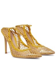 Alisia 105 leather-trimmed mesh pumps