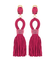 Embellished tassel clip-on earrings