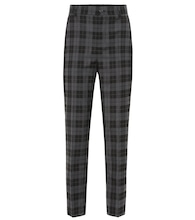 High-rise checked stretch-wool pants
